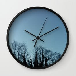 Fog and Forest- wood,mist,romantic, greenery,sunset,dawn,Landes forest,fantasy Wall Clock