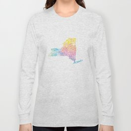 Typographic New York in Springtime Long Sleeve T-shirt