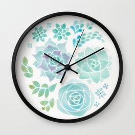 Watercolor Succulent Garden 3 Wall Clock