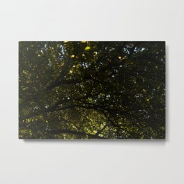 Silhouetted Leaves Abstract Metal Print
