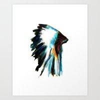 headdress Art Prints featuring Headdress by James Peart