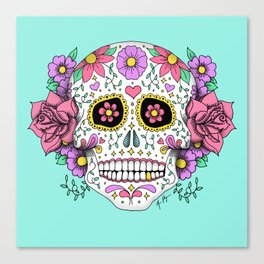 Sugar Skull with Flowers on Turquoise Canvas Print