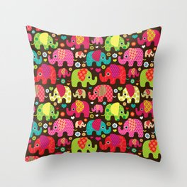 Colorful Elephants Throw Pillow