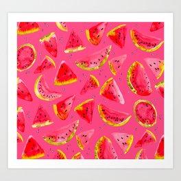 I Want Watermelon - watercolor fruit Art Print