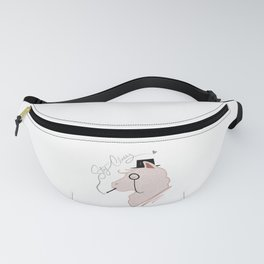 Funny Llama With Class, Tophat & Monocle Cute Lama Fanny Pack