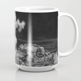 Joshua Trees and Boulders in Infrared Black and White at Joshua Tree National Park California Coffee Mug