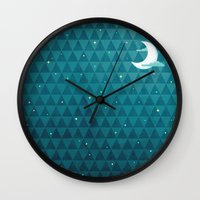 night sky Wall Clocks featuring Night Sky by littleclyde