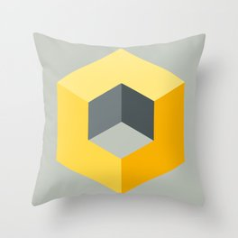 'Iso-Cube Yellow' Throw Pillow