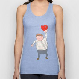 fat boy holding a heart. Unisex Tank Top