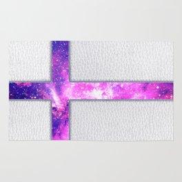 Hipster Purple Nebula Cross Modern Faux Leather Rug