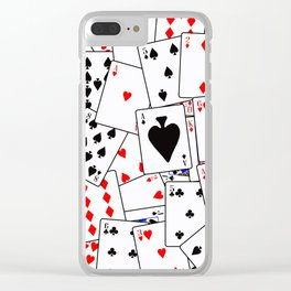 Random Playing Card Background Clear iPhone Case