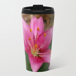 Pink Lilies Metal Travel Mug