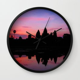 Angkor Wat Sunrise Reflection Wall Clock