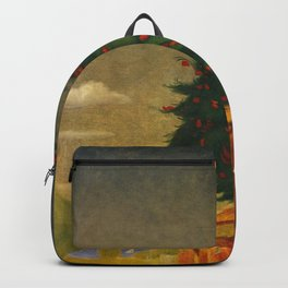 Red Mountain Ash Blossoms Oslo, Norway floral landscape painting by Harald Sohberg Backpack