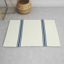 Blue Stripes on Creme background French Grainsack Distressed Country Farmhouse Rug