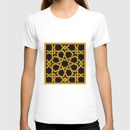 Black and Yellow Islamic Geometric Art T-shirt