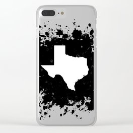 White State of Texas with Black Paint Splatter Clear iPhone Case