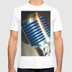 Microphone White Mens Fitted Tee MEDIUM