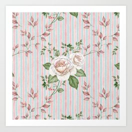 Pastel pink and blue watercolor striped pattern with roses and foliage Art Print