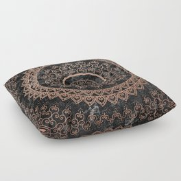 Mandala - rose gold and black marble Floor Pillow
