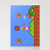 mario bros Stationery Cards featuring Super Mario Bros by Trash Apparel
