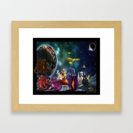 Dragonlings Space Party Framed Art Print
