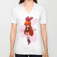 powerpuff girls V-neck T-shirts featuring Blossom - The Powerpuff Girls by zeoarts
