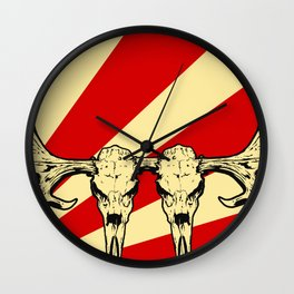Art print: The two headed Moose Skull Wall Clock