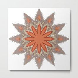 Mandala ocre et taupe Metal Print