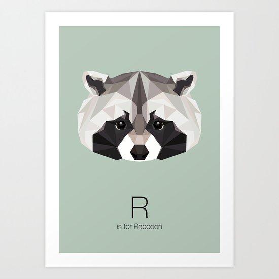 R is for Raccoon Art Print