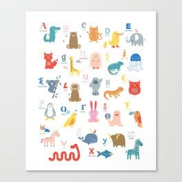 Colorful Alphabet Friends Canvas Print