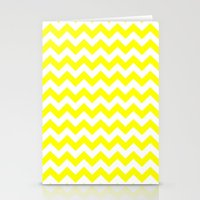 chevron Stationery Cards featuring Chevron (Yellow/White) by 10813 Apparel