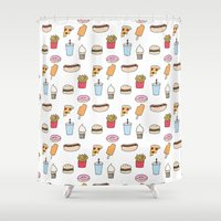 junk food Shower Curtains featuring Fast Food by Little Holly Berry