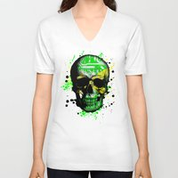 jamaica V-neck T-shirts featuring Jamaica circuit Skull. by seb mcnulty