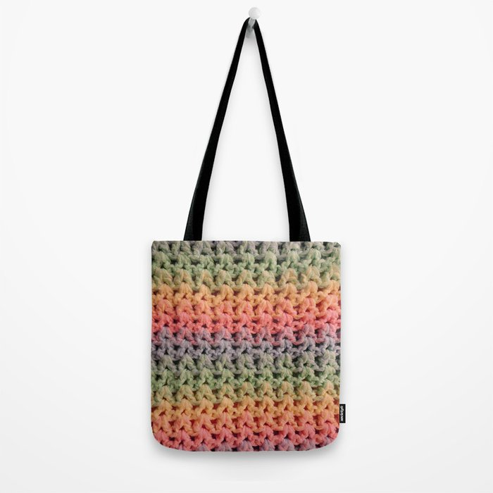 Colorful Chunky Knitted Effect Tote Bag
