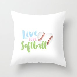 Live Love Softball, Heart Shaped Soft Ball Throw Pillow