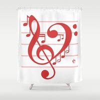 valentines Shower Curtains featuring Love Music ~ Valentines Edition ~ by RichCaspian