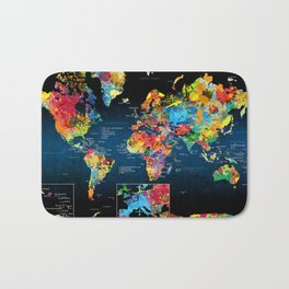 World Map Black - 2 Bath Mat