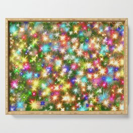 Star colorful christmas abstract Serving Tray
