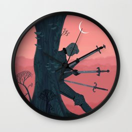 3 of Swords Wall Clock