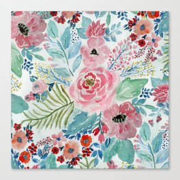 Pretty watercolor hand paint floral artwork. Canvas Print