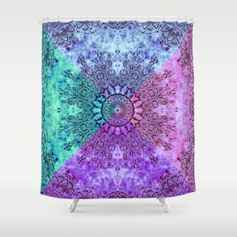 India Pattern Mandala Cloudy Clotting Blue Pink Purple Teal Shower Curtain