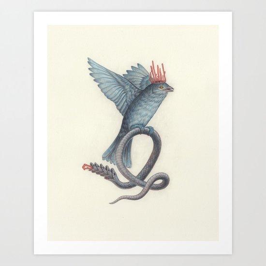 Snake Bird Art Print