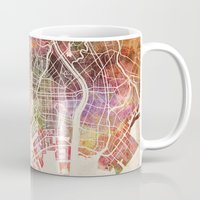 tokyo Mugs featuring Tokyo by MapMapMaps.Watercolors