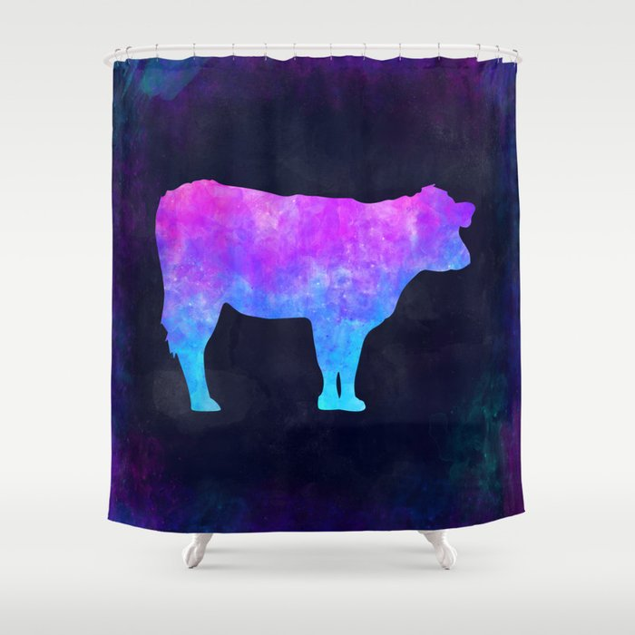 Cow In Space Animal Graphic Art Watercolor Canvas Painting