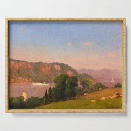 George Inness - View on the Hudson - Digital Remastered Edition Serving Tray