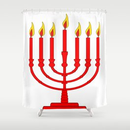 Menorh With Seven Burning Candles Shower Curtain