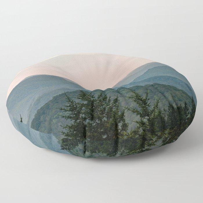 Smoky Mountain Pastel Sunset Floor Pillow