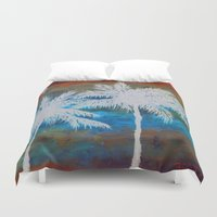 palm trees Duvet Covers featuring Palm Trees by Bonnie J. Breedlove