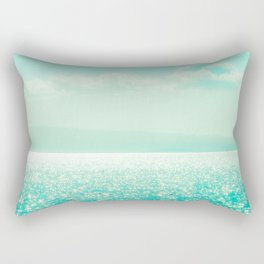 Winter Aqua Sparkling Seashore Rectangular Pillow